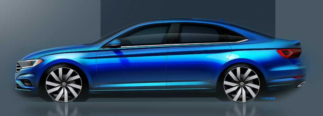Sketch of Side View of Blue 2019 VW Jetta