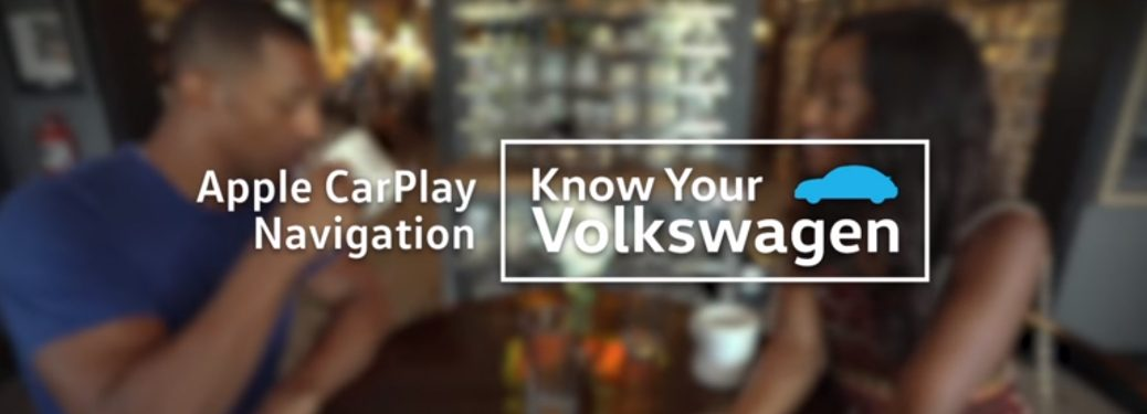 Apple CarPlay Navigation and Know Your Volkswagen Title and Two People Drinking Coffee