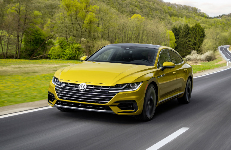 Front View of Yellow 2019 VW Arteon with the R-Line Appearance Package