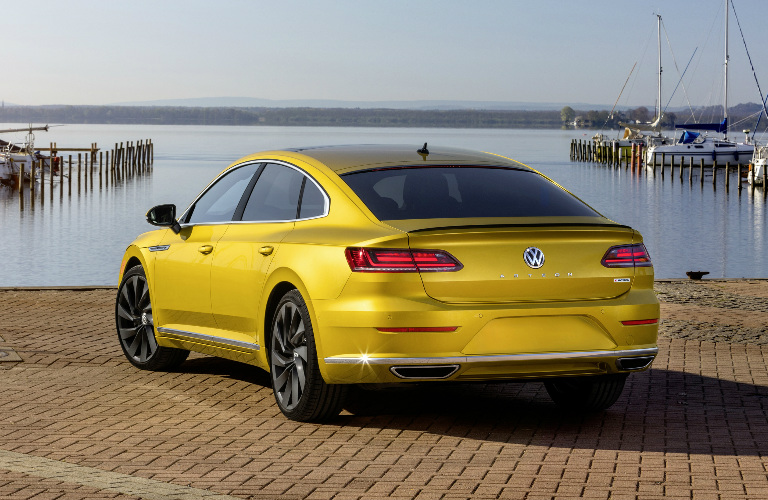 Rear View of Yellow 2019 VW Arteon with the R-Line Appearance Package