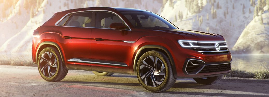 Side View of Red Volkswagen Atlas Cross Sport Concept
