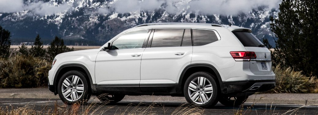 White 2018 VW Atlas with Snowy Mountains in the Background