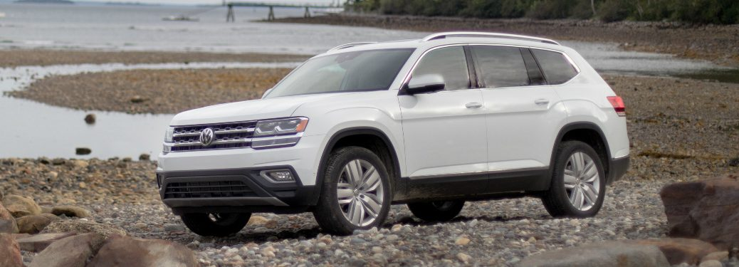 White 2018 VW Atlas Parked by a Lake