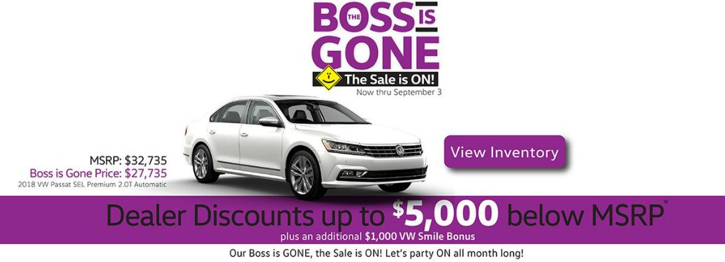 Details of the Capo VW Boss is Gone Sale and a White 2018 VW Passat