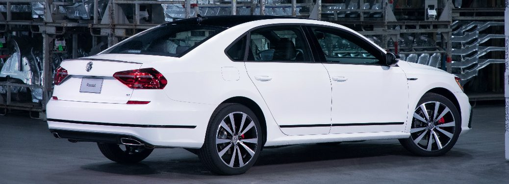 Rear View of White 2018 VW Passat GT