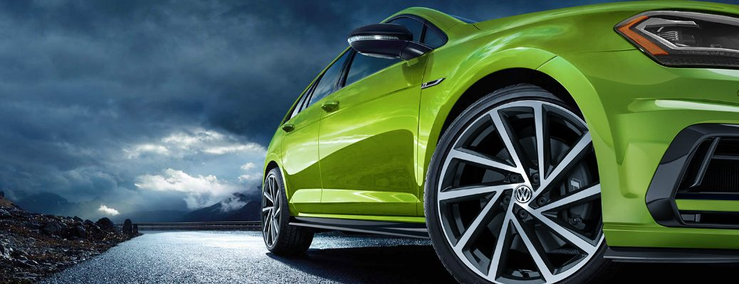 Close-up View of Green 2019 VW Golf R