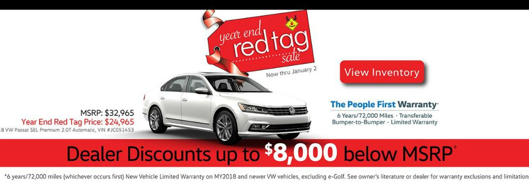 Details of Capo VW Red Tag Sale and a white 2018 VW Passat
