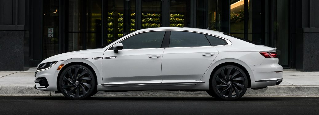 Side view of white 2019 Volkswagen Arteon