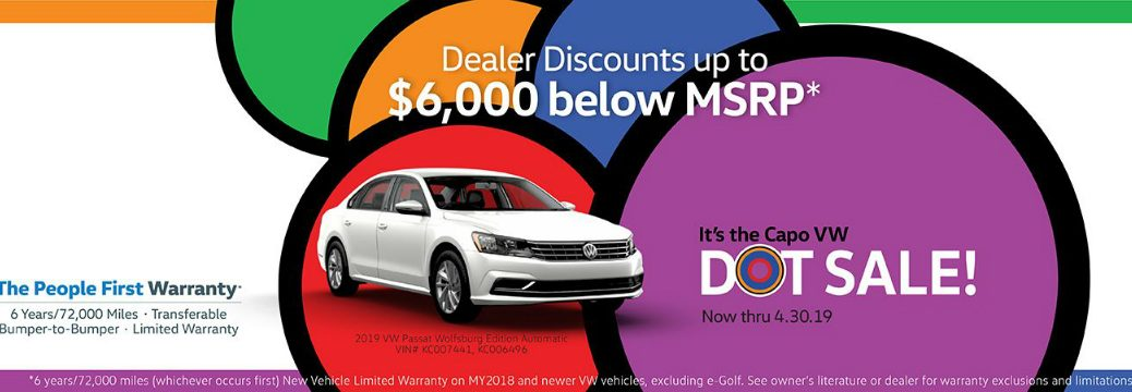 Details of Capistrano Volkswagen Dot Sale and a white 2019 VW Passat Wolfsburg Edition