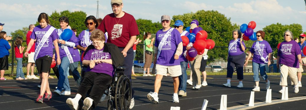 People walking on the Survivor Lap for a Relay for Life event