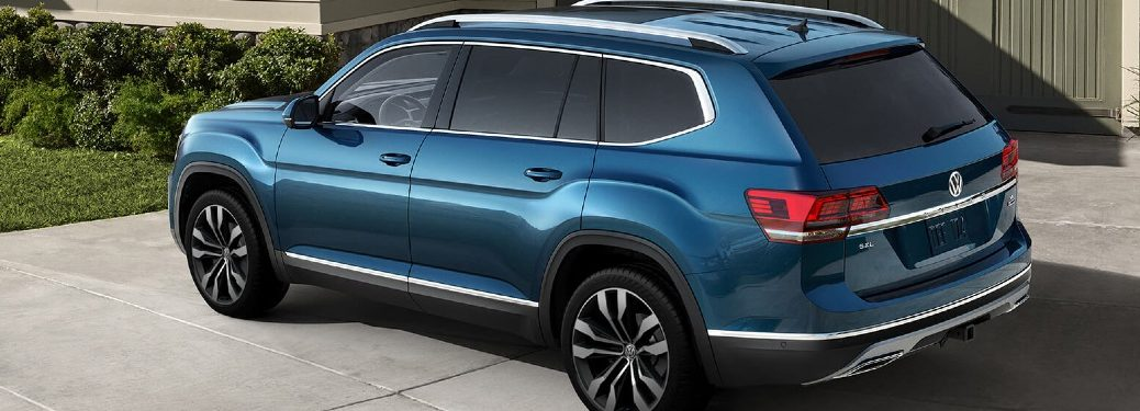 2020 VW Atlas parked in front of a garage door, rear view