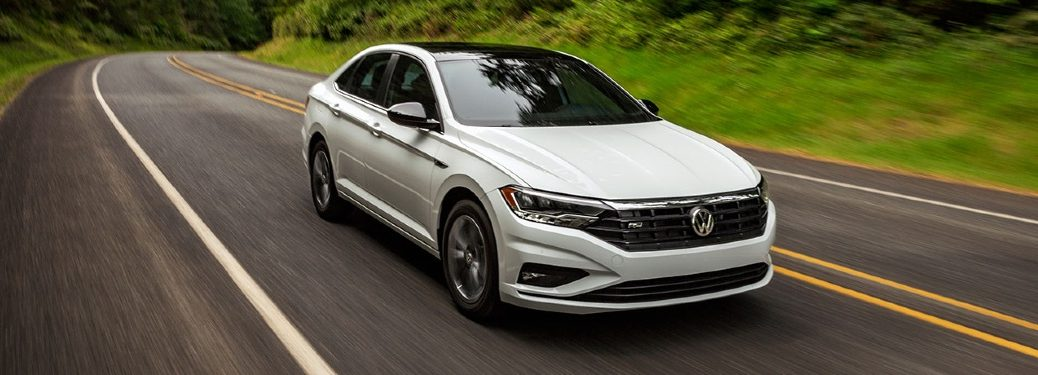 2020 Jetta driving through forested area