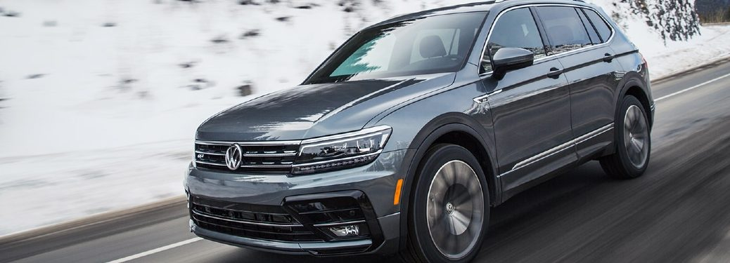 2021 Tiguan driving on snowy mountain