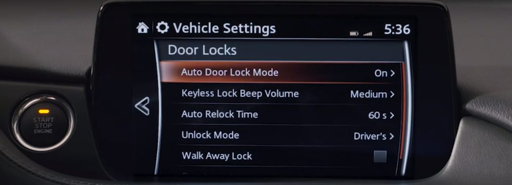 Screen for Vehicle Settings in the 2018 Mazda6