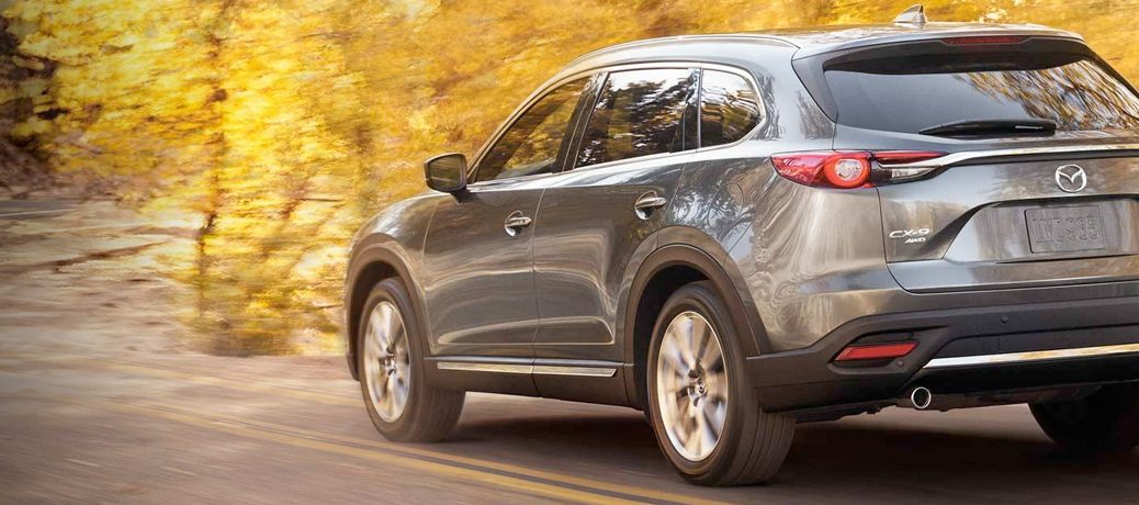 2019 Mazda CX-9, which may have i-ACTIV AWD, drives off into the countryside.