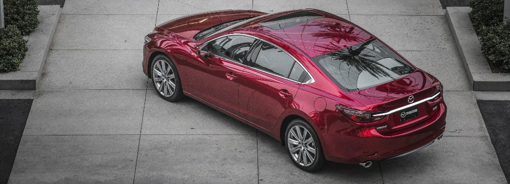 top left view of red mazda6 with sunroof