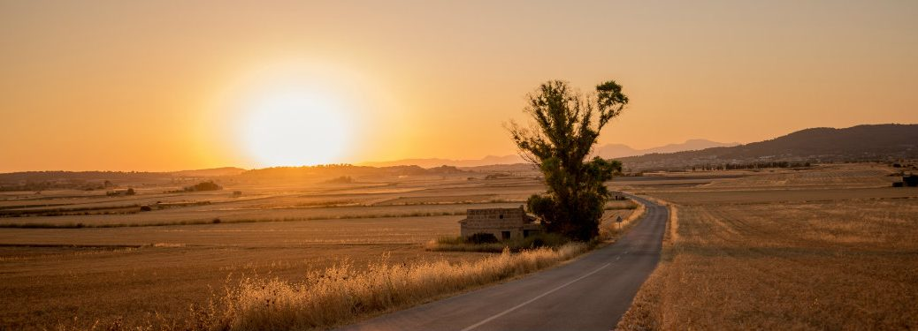desolate road at sunset