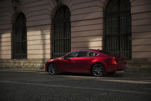 2021 Mazda6 parked on cobblestone street, rear view