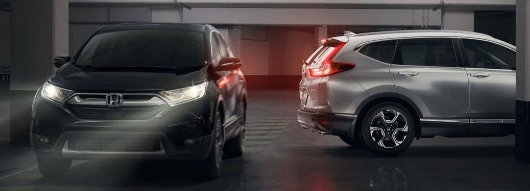 Black and Silver 2019 Honda CR-V Models in a Parking Garage