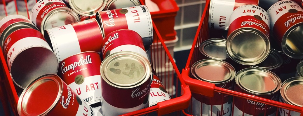 cans of soup in shopping carts