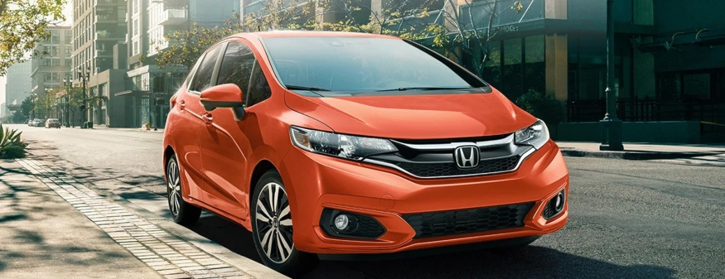 2020 Honda Fit front side view in orange
