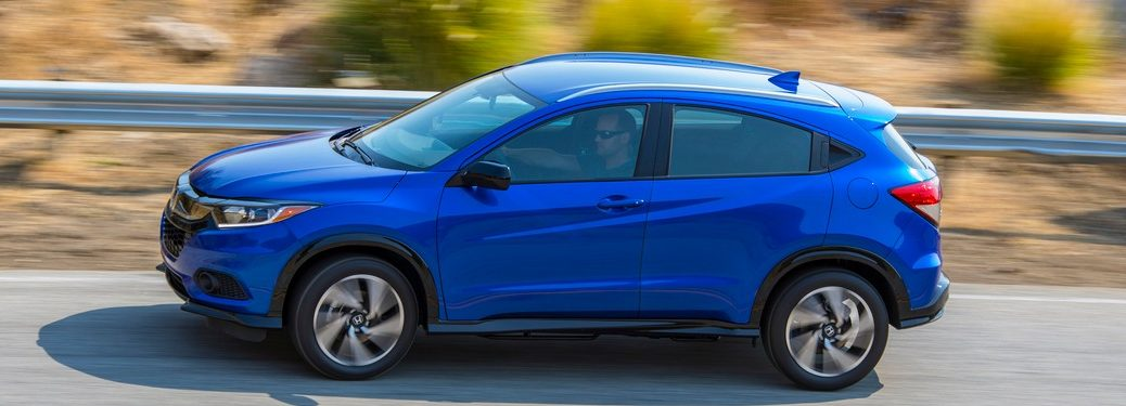 2019 Honda HR-V driving down a mountain road