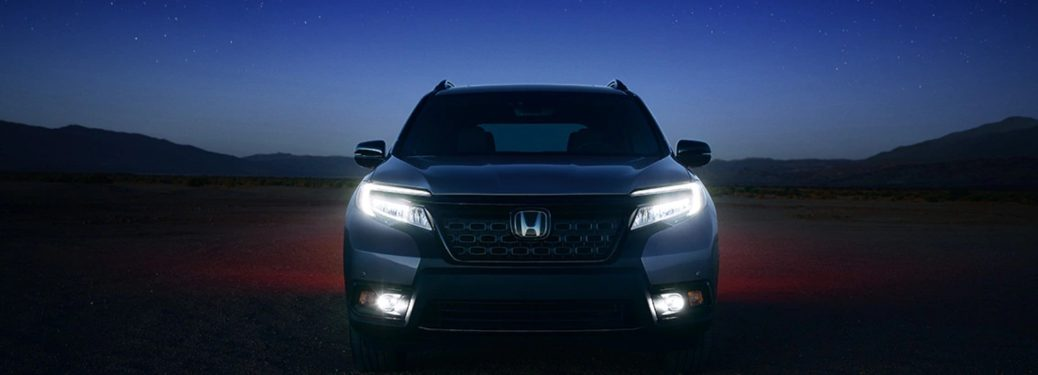 2019 Honda Passport parked in a field at night