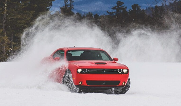 2019 Dodge Challenger red front view in the snow