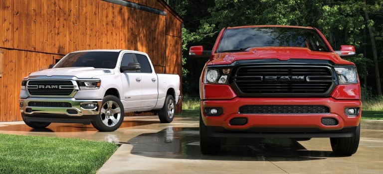 2020 RAM 1500 in red and white front and side view