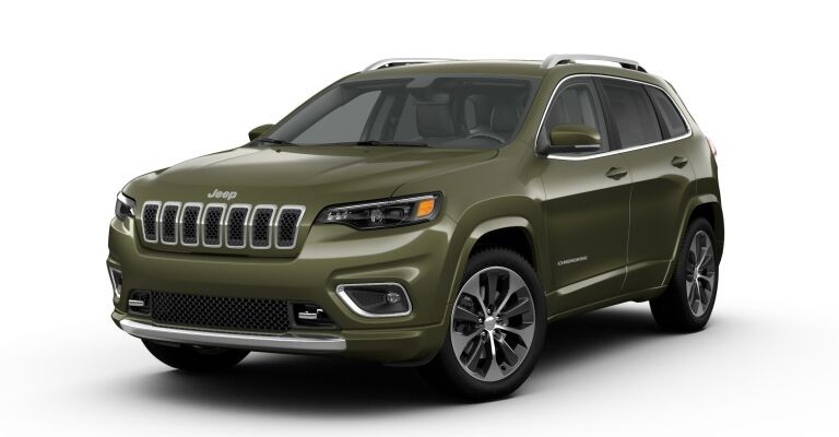 2019 Jeep Cherokee green side front view