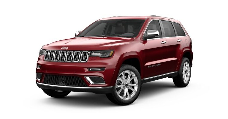2019 Jeep Grand Cherokee red side front view