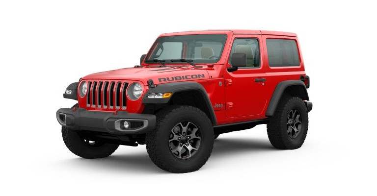 2019 Jeep Wrangler red side front view