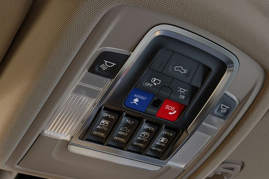 Controls for sunroof, dampened tailgate release, overhead lights and more