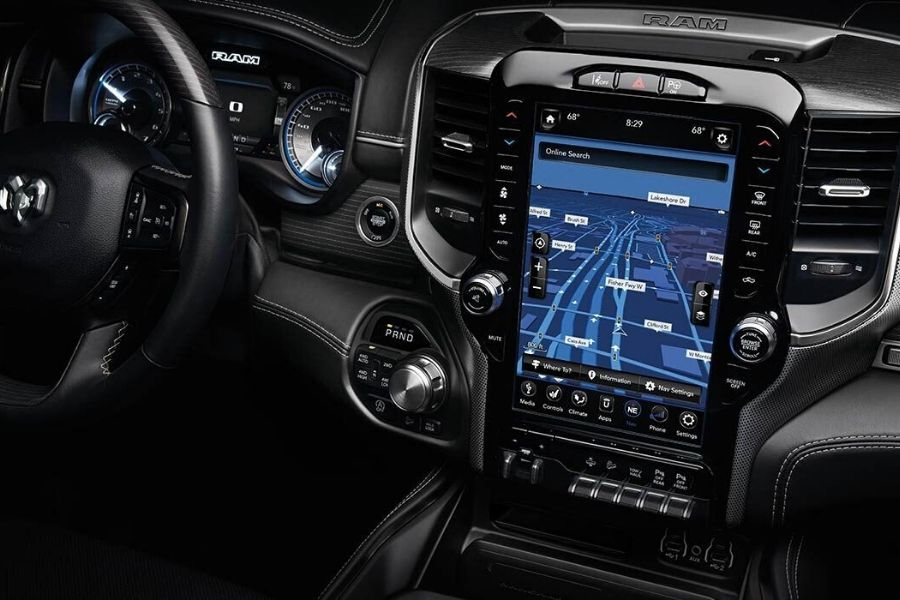 Uconnect 12.0 System with 12-inch touchscreen on the 2020 Ram 1500