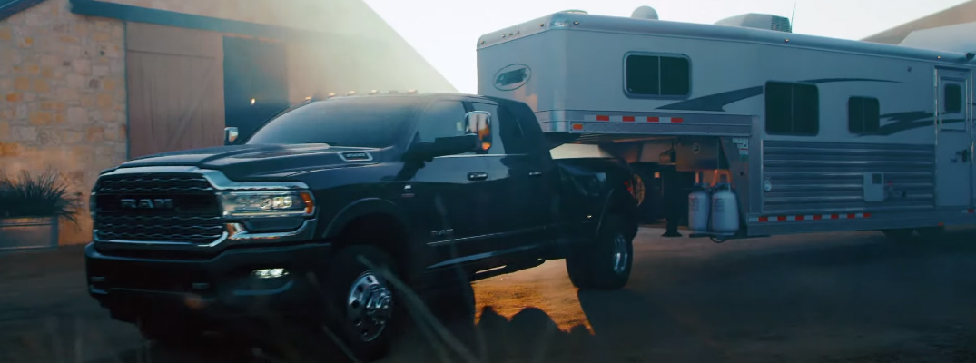 How can I prevent the trailer from swaying when towing with a Ram truck?