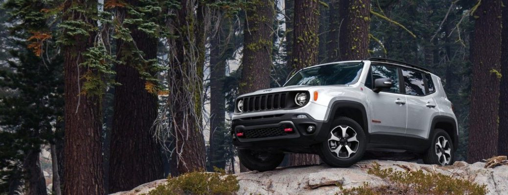 2020 Jeep Renegade silver paint facing left parked on snowy hill in forest