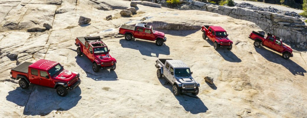 Overhead view of 2020 Jeep Gladiator models