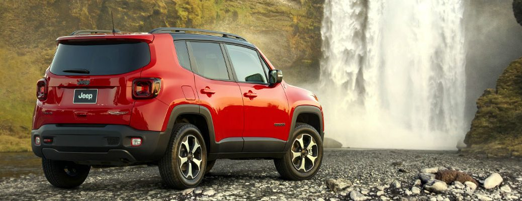 Rear view of red 2020 Jeep Renegade