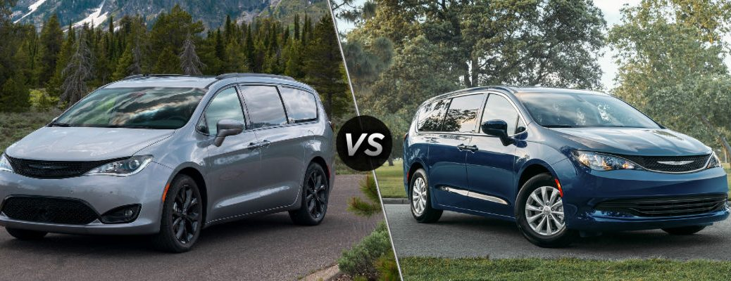 Silver 2020 Chrysler Pacifica and blue 2020 Chrysler Voyager