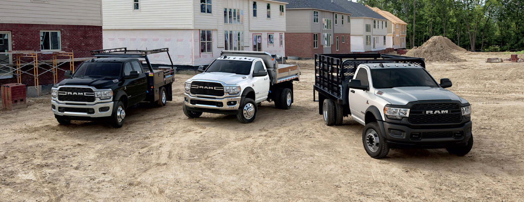 Lineup of three 2020 Ram Chassis Cab trucks