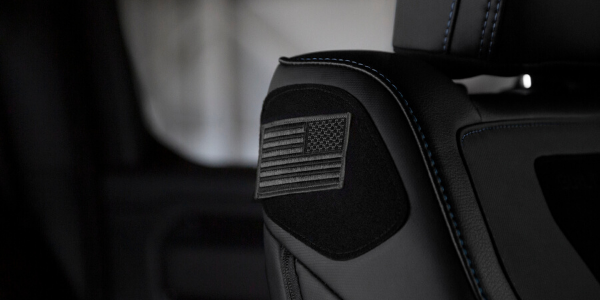 Flag patch in Ram Built to Serve truck