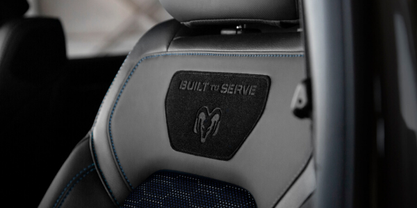 Closeup of seat in Ram Built to Serve truck