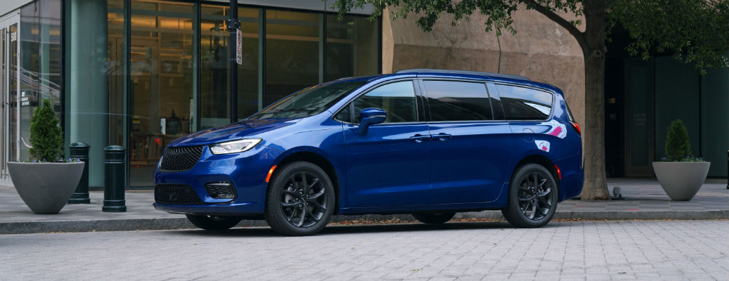 Blue 2021 Chrysler Pacifica profile view