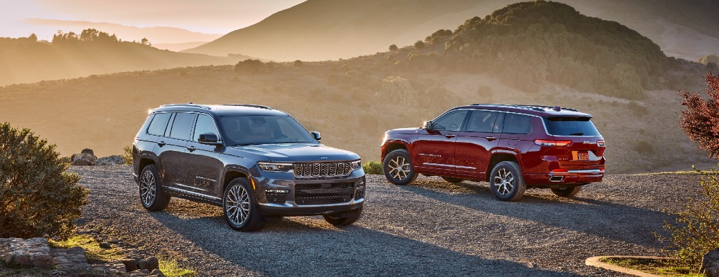 Gray and red 2021 Jeep Grand Cherokee L models