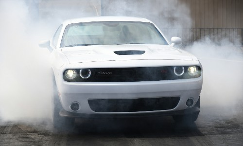 Front view of white 2021 Dodge Challenger