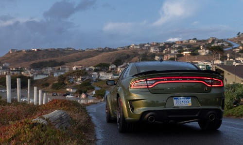Rear view of green 2021 Dodge Charger