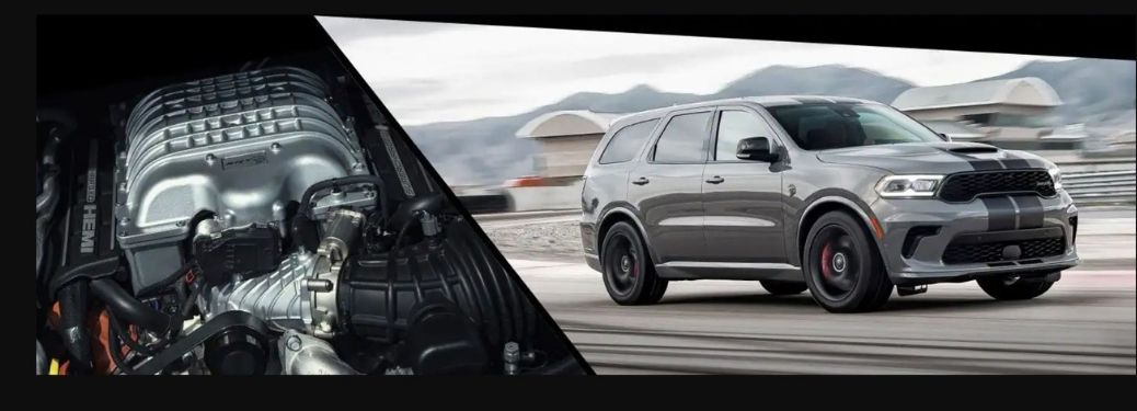 2021 Dodge Durango SRT Hellcat front and side view and engine view