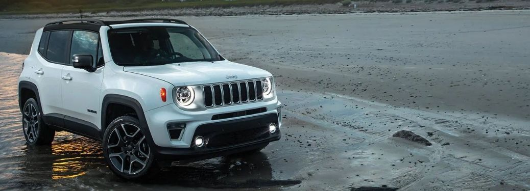 2021 Jeep Renegade White Front and Side View in the Beach