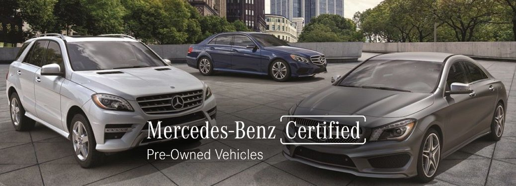"Two Mercedes-Benz vehicles sit parked with text overlayed that reads, ""Mercedes-Benz Certified Pre-Owned Vehicles"""