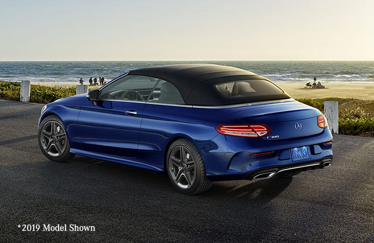 2020 Mercedes-Benz C-Class Cabriolet in blue color by the coastline.
